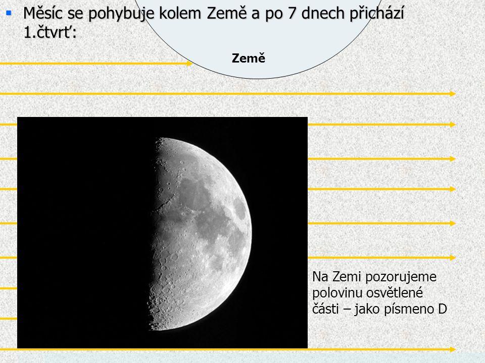 Země  Měsíc se pohybuje kolem Země a po 7 dnech přichází 1.čtvrť: Měsíc Na Zemi pozorujeme polovinu osvětlené části – jako písmeno D