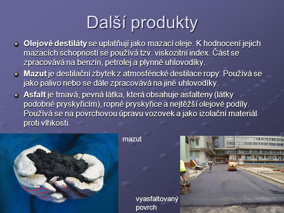 Další produkty Olejové destiláty se uplatňují jako mazací oleje. K hodnocení jejich mazacích schopností se používá tzv. viskozitní index. Část se zpra