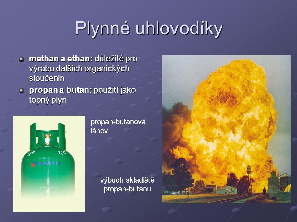 Plynné uhlovodíky methan a ethan: důležité pro výrobu dalších organických sloučenin propan a butan: použití jako topný plyn propan-butanová láhev výbu