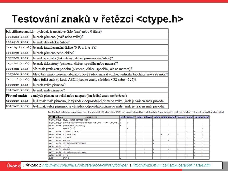 PB071 Úvod do C, 10.3.2014 Testování znaků v řetězci Převzato z http://www.cplusplus.com/reference/clibrary/cctype/ a http://www.fi.muni.cz/usr/jkucera/pb071/sl4.htmhttp://www.cplusplus.com/reference/clibrary/cctype/http://www.fi.muni.cz/usr/jkucera/pb071/sl4.htm