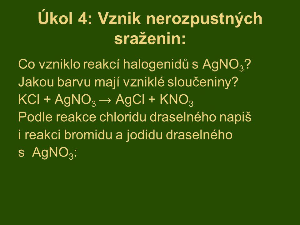 Úkol 4: Vznik nerozpustných sraženin: Co vzniklo reakcí halogenidů s AgNO 3 ? Jakou barvu mají vzniklé sloučeniny? KCl + AgNO 3 → AgCl + KNO 3 Podle r