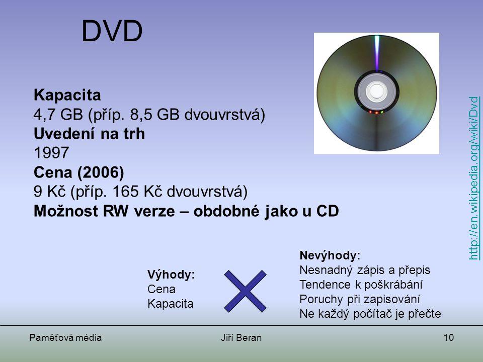Paměťová médiaJiří Beran10 DVD Kapacita 4,7 GB (příp. 8,5 GB dvouvrstvá) Uvedení na trh 1997 Cena (2006) 9 Kč (příp. 165 Kč dvouvrstvá) Možnost RW ver