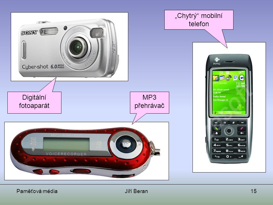 """Paměťová médiaJiří Beran15 Digitální fotoaparát """"Chytrý"""" mobilní telefon MP3 přehrávač"""