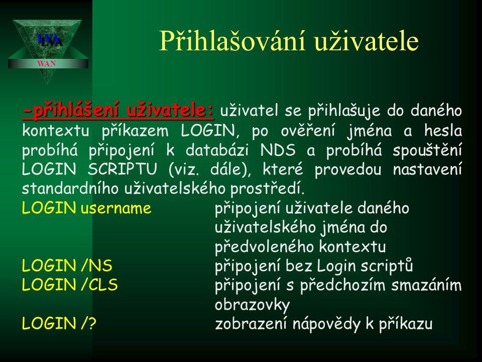 LVALVA WAN Přihlašování uživatele -přihlášení uživatele: -přihlášení uživatele: uživatel se přihlašuje do daného kontextu příkazem LOGIN, po ověření jména a hesla probíhá připojení k databázi NDS a probíhá spouštění LOGIN SCRIPTU (viz.