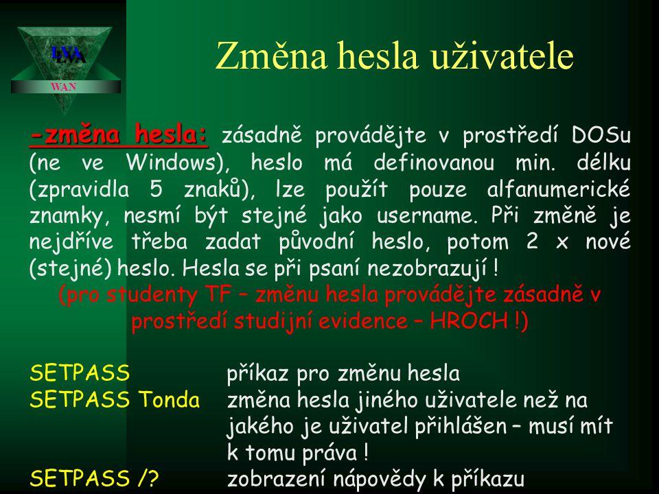LVALVA WAN Změna hesla uživatele -změna hesla: -změna hesla: zásadně provádějte v prostředí DOSu (ne ve Windows), heslo má definovanou min.