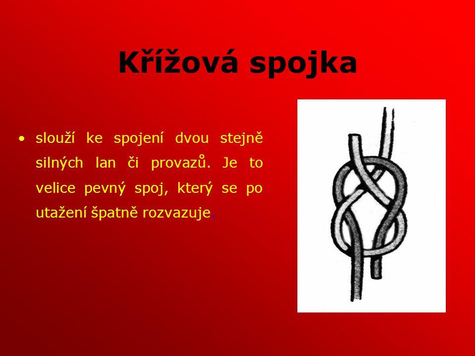 Křížová spojka slouží ke spojení dvou stejně silných lan či provazů. Je to velice pevný spoj, který se po utažení špatně rozvazuje.