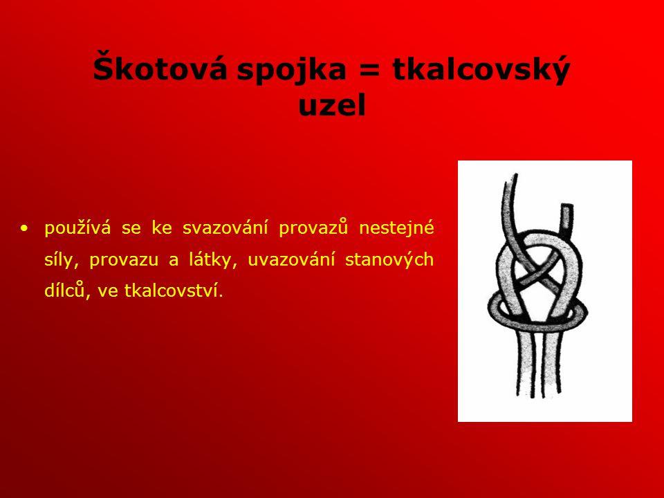 Škotová spojka = tkalcovský uzel používá se ke svazování provazů nestejné síly, provazu a látky, uvazování stanových dílců, ve tkalcovství.