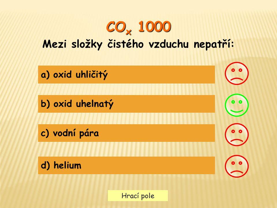 Hrací pole CO x 1000 Mezi složky čistého vzduchu nepatří: a) oxid uhličitý b) oxid uhelnatý c) vodní pára d) helium