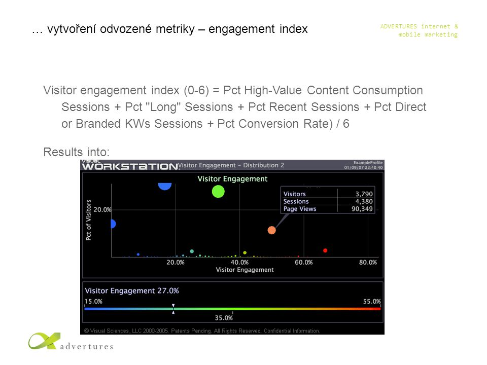 ADVERTURES internet & mobile marketing Visitor engagement index (0-6) = Pct High-Value Content Consumption Sessions + Pct Long Sessions + Pct Recent Sessions + Pct Direct or Branded KWs Sessions + Pct Conversion Rate) / 6 Results into: … vytvoření odvozené metriky – engagement index
