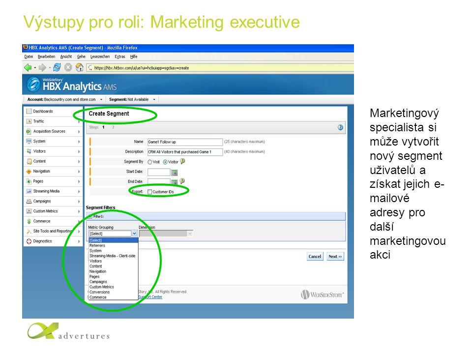 Výstupy pro roli: Marketing executive Marketingový specialista si může vytvořit nový segment uživatelů a získat jejich e- mailové adresy pro další marketingovou akci
