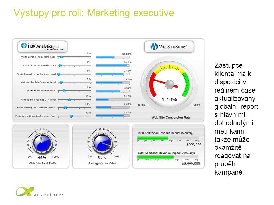 Výstupy pro roli: Marketing executive Zástupce klienta má k dispozici v reálném čase aktualizovaný globální report s hlavními dohodnutými metrikami, takže může okamžitě reagovat na průběh kampaně.