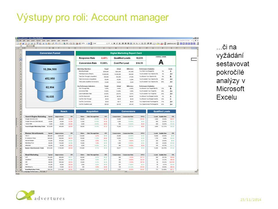 23/11/2014 Výstupy pro roli: Account manager...či na vyžádání sestavovat pokročílé analýzy v Microsoft Excelu