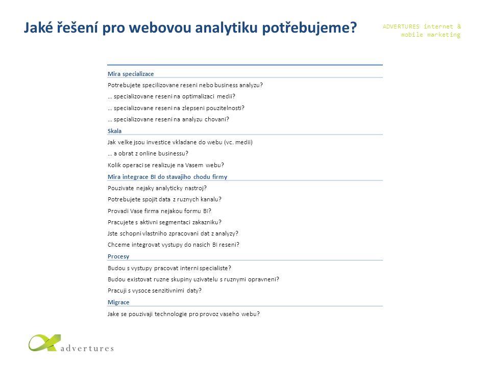 ADVERTURES internet & mobile marketing Jaké řešení pro webovou analytiku potřebujeme.