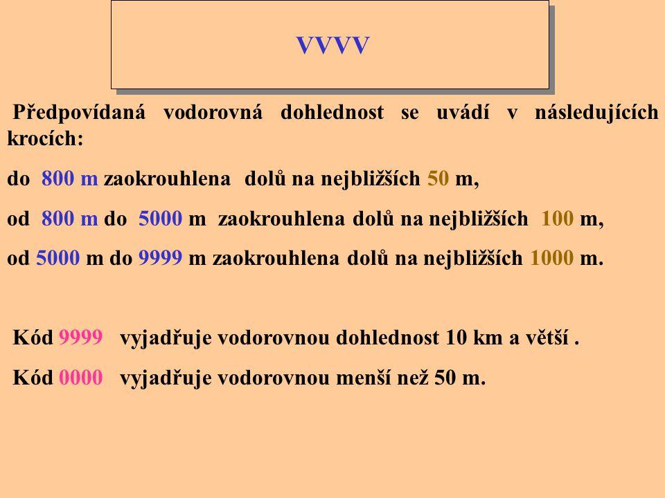 VVVV Skupina VVVV vyjadřuje předpovídanou horizontální dohlednost. Příklady: šifra VVVV Předpovídaná dohlednost 0050 50 m 0350 350 m 2300 2300 m 7000