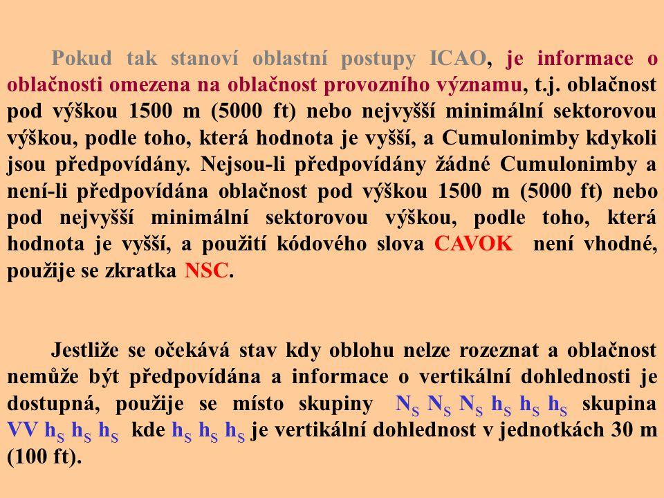 Příklady dekódování oblačnosti Šifra N S N S N S h S h S h S Předpovídaná oblačnost OVC020 8/8 se základnou na výšce 600 m FEW016 1  2/8 se základnou