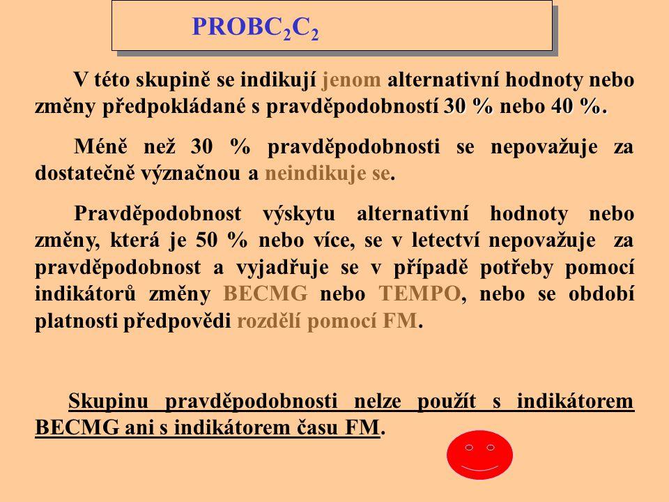 TEMPO PROBC 2 C 2 TEMPO G d G d G h G h / G d G d G h G h Pravděpodobnost předpovědi přechodných nepravidelných změn meteorologických podmínek se indi