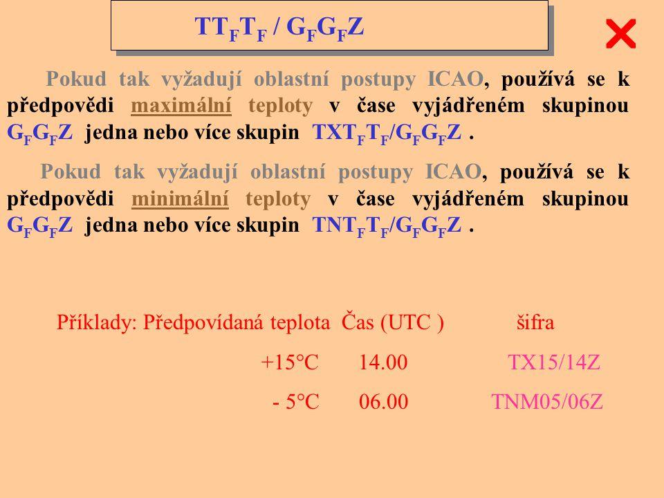 TT F T F / G F G F Z Pokud tak vyžadují oblastní postupy ICAO, používá se k předpovědi teploty v čase vyjádřeném skupinou G F G F Z jedna nebo více sk