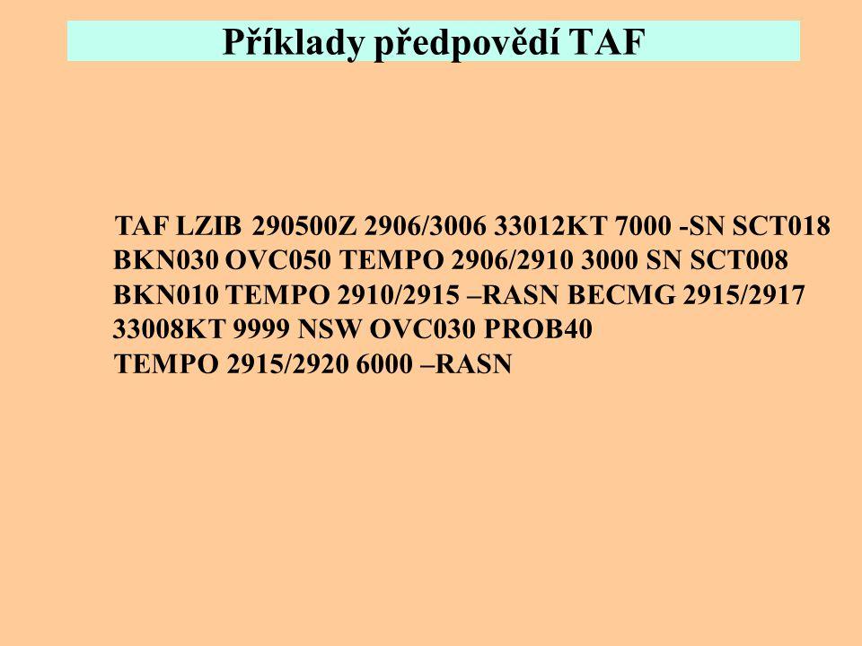 Příklady předpovědí TAF TAF LKPR 221100Z 2212/2318 22009KT 4000 BR BKN009 TEMPO 2212/2303 1500 BR BKN002 BECMG 2216/2218 14003KT TEMPO 2303/2307 1500