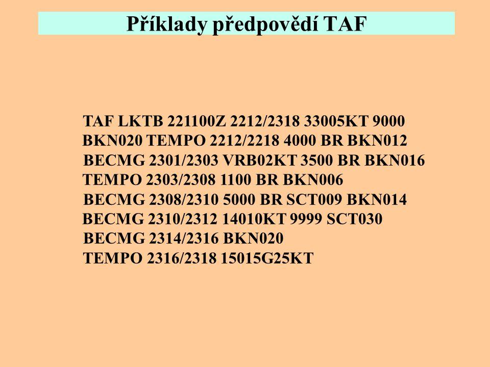 Příklady předpovědí TAF TAF LZIB 290500Z 2906/3006 33012KT 7000 -SN SCT018 BKN030 OVC050 TEMPO 2906/2910 3000 SN SCT008 BKN010 TEMPO 2910/2915 –RASN B