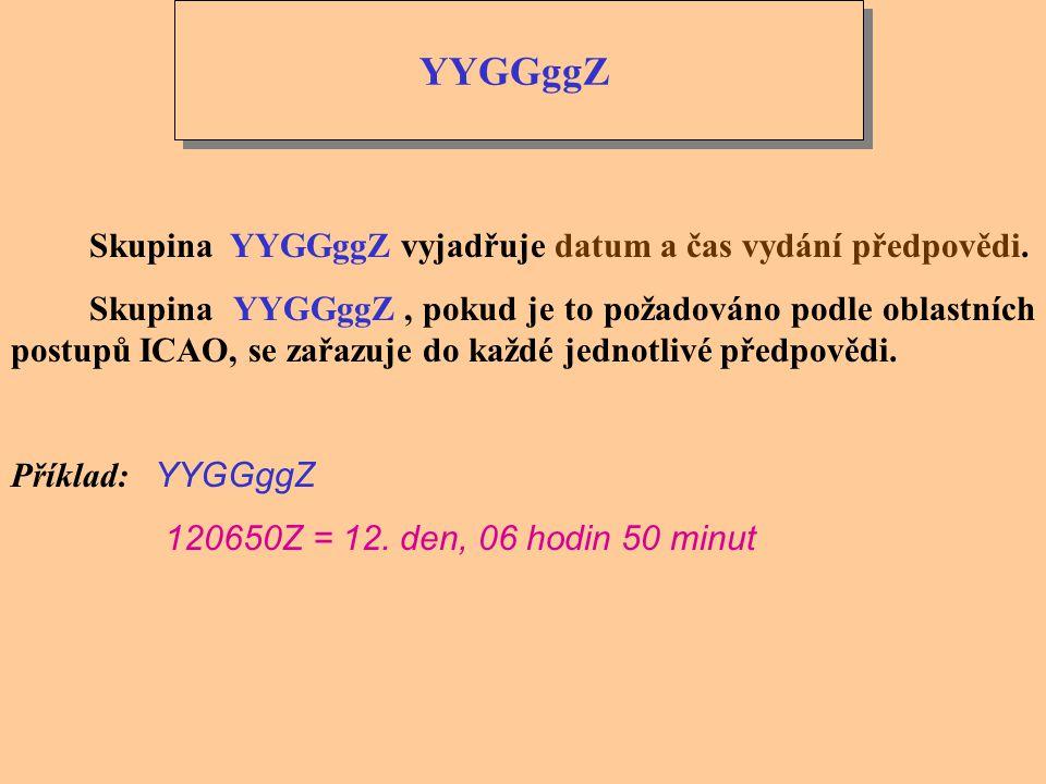 YYGGggZ Skupina YYGGggZ vyjadřuje datum a čas vydání předpovědi.