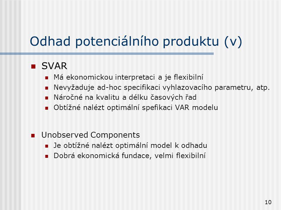 10 Odhad potenciálního produktu (v) SVAR Má ekonomickou interpretaci a je flexibilní Nevyžaduje ad-hoc specifikaci vyhlazovacího parametru, atp. Nároč
