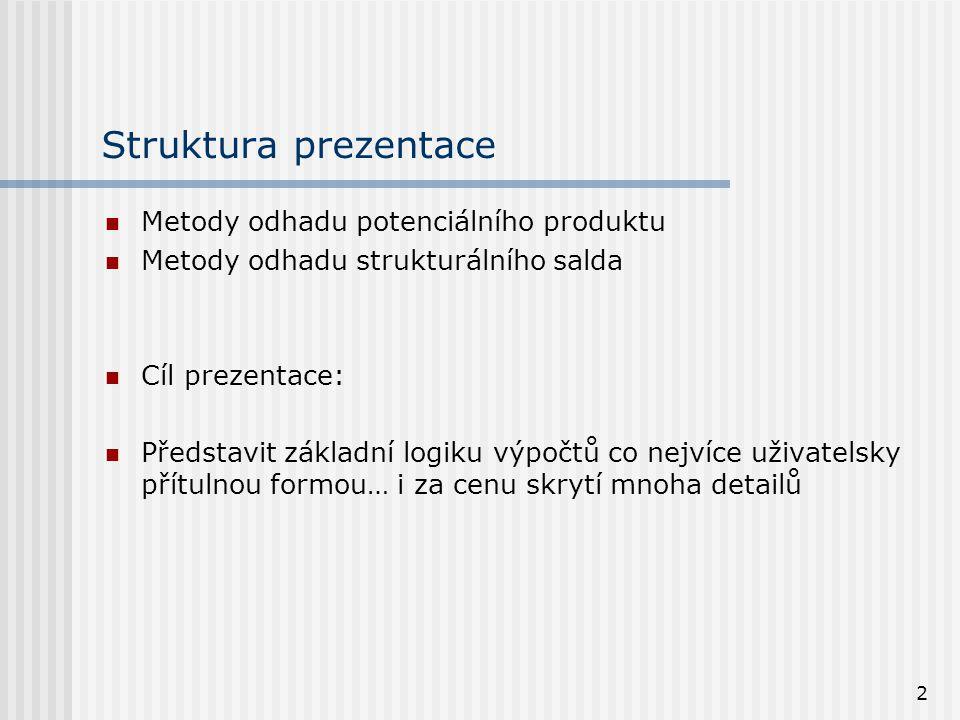 2 Struktura prezentace Metody odhadu potenciálního produktu Metody odhadu strukturálního salda Cíl prezentace: Představit základní logiku výpočtů co n
