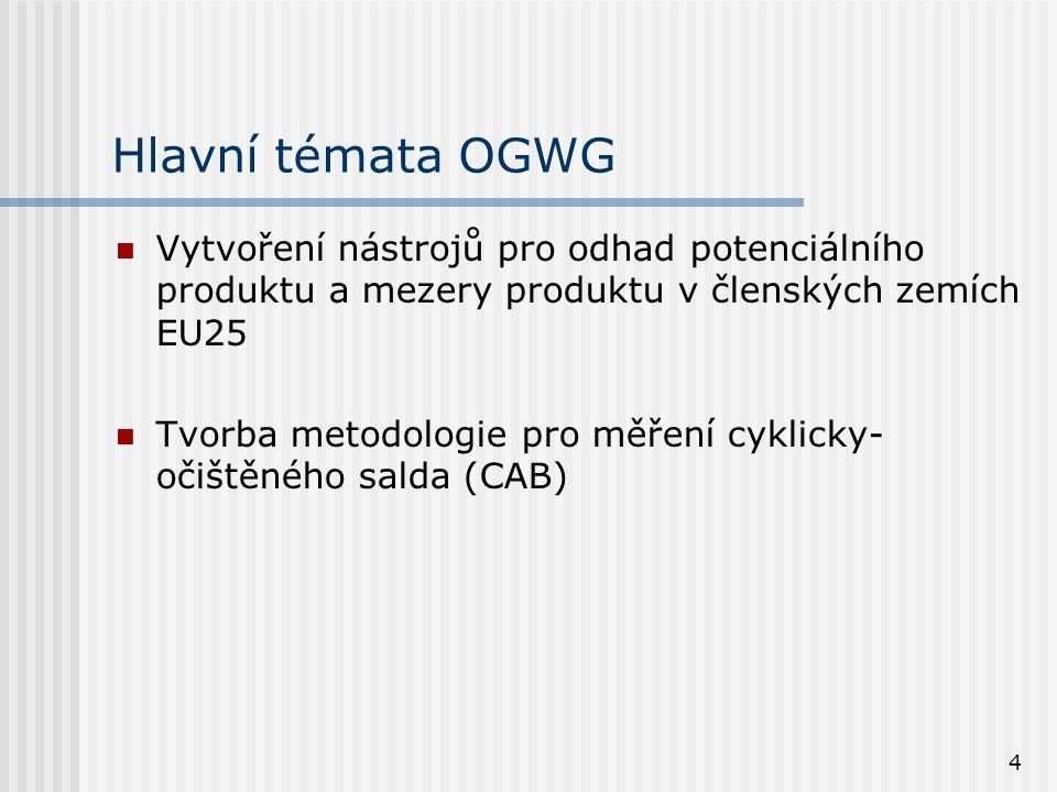 4 Hlavní témata OGWG Vytvoření nástrojů pro odhad potenciálního produktu a mezery produktu v členských zemích EU25 Tvorba metodologie pro měření cykli