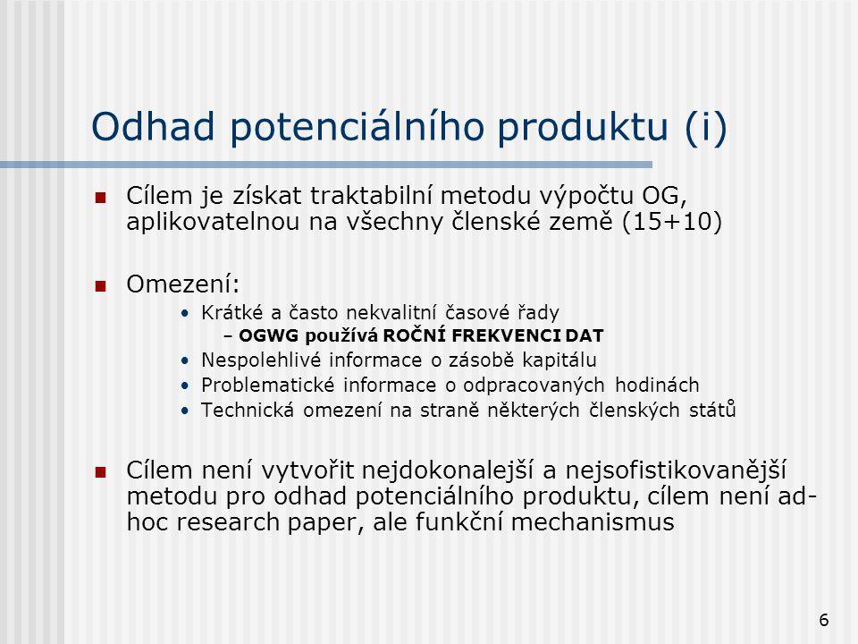 6 Odhad potenciálního produktu (i) Cílem je získat traktabilní metodu výpočtu OG, aplikovatelnou na všechny členské země (15+10) Omezení: Krátké a čas