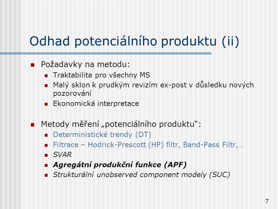 7 Odhad potenciálního produktu (ii) Požadavky na metodu: Traktabilita pro všechny MS Malý sklon k prudkým revizím ex-post v důsledku nových pozorování