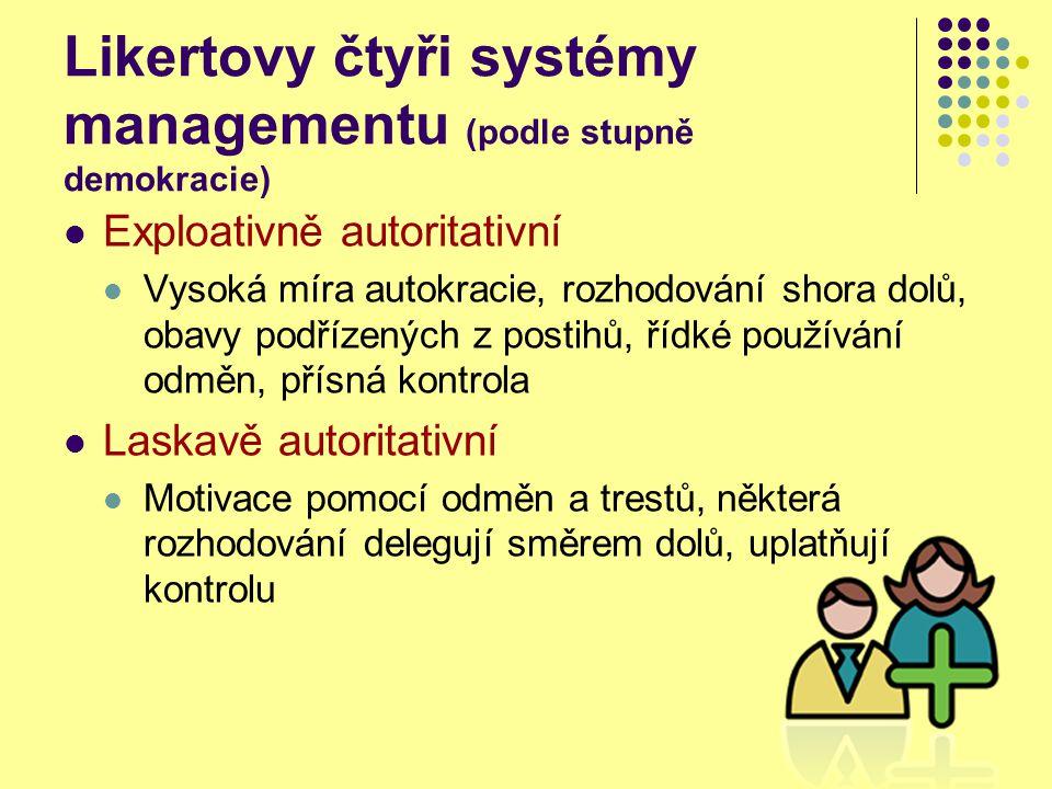 Likertovy čtyři systémy managementu (podle stupně demokracie) Konzultativní Podstatná důvěra podřízeným, využití myšlenek a názorů podřízených, spíše odměny než tresty, motivace spoluúčastí, obousměrná komunikace, specifická rozhodnutí na nižších úrovních (pouze základní na nejvyšší úrovni) Participativně skupinový Plná důvěra podřízeným, využití nápadů podřízených, jednání s podřízenými jako s rovnocennými partnery, plná komunikace oběma směry