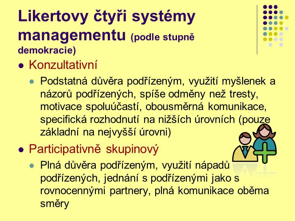 Likertovy čtyři systémy managementu (podle stupně demokracie) Konzultativní Podstatná důvěra podřízeným, využití myšlenek a názorů podřízených, spíše