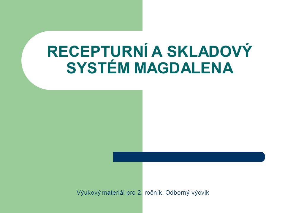 1 ÚVOD Recepturní systém Magdalena umožňuje: využívání zadaných nebo vlastních receptur tak, aby vyhovovaly výrobě jídel pro cílený okruh strávníků nebo určení jídelny sestavit jídelníček, jehož struktura je navržena tak, že na jeho základě je možné provést normování, objednávku nebo orientačně stanovit nutriční hodnotu kalkulovat cenu vybraného jídla na základě skladových cen vynormovat pokrm na zadaný počet porcí