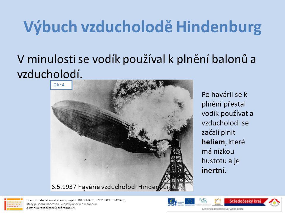 Výbuch vzducholodě Hindenburg V minulosti se vodík používal k plnění balonů a vzducholodí.