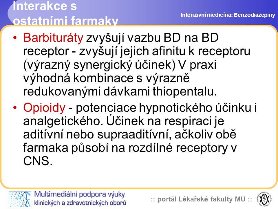 :: portál Lékařské fakulty MU :: Interakce s ostatními farmaky Barbituráty zvyšují vazbu BD na BD receptor - zvyšují jejich afinitu k receptoru (výraz