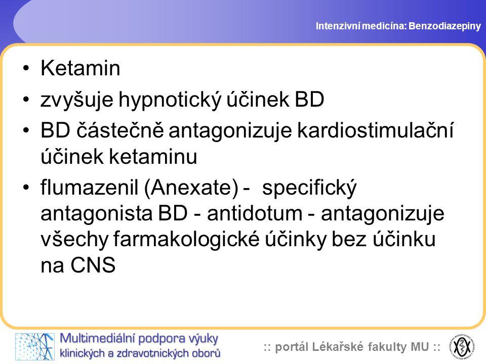:: portál Lékařské fakulty MU :: Ketamin zvyšuje hypnotický účinek BD BD částečně antagonizuje kardiostimulační účinek ketaminu flumazenil (Anexate) - specifický antagonista BD - antidotum - antagonizuje všechy farmakologické účinky bez účinku na CNS Intenzivní medicína: Benzodiazepiny