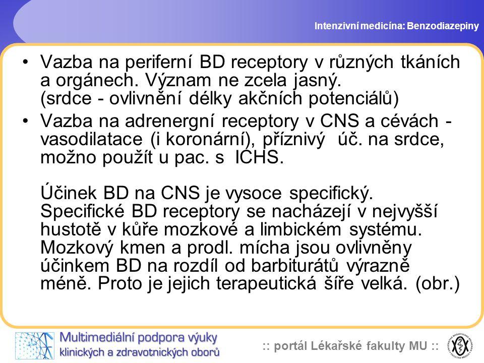 :: portál Lékařské fakulty MU :: Vazba na periferní BD receptory v různých tkáních a orgánech. Význam ne zcela jasný. (srdce - ovlivnění délky akčních