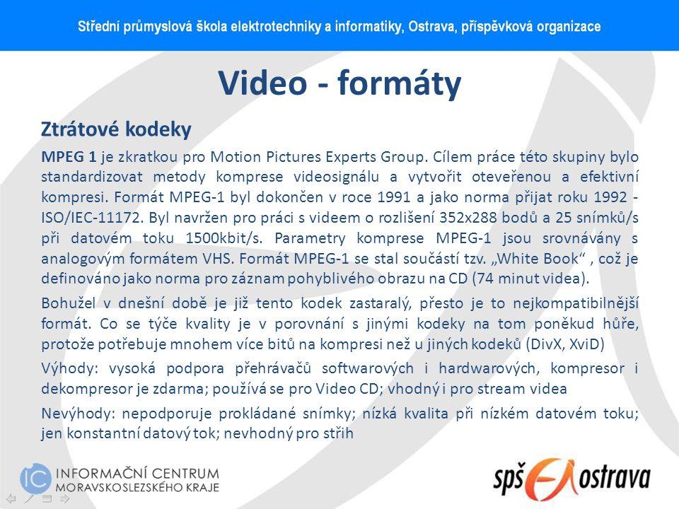 Video - formáty Ztrátové kodeky MPEG 1 je zkratkou pro Motion Pictures Experts Group. Cílem práce této skupiny bylo standardizovat metody komprese vid