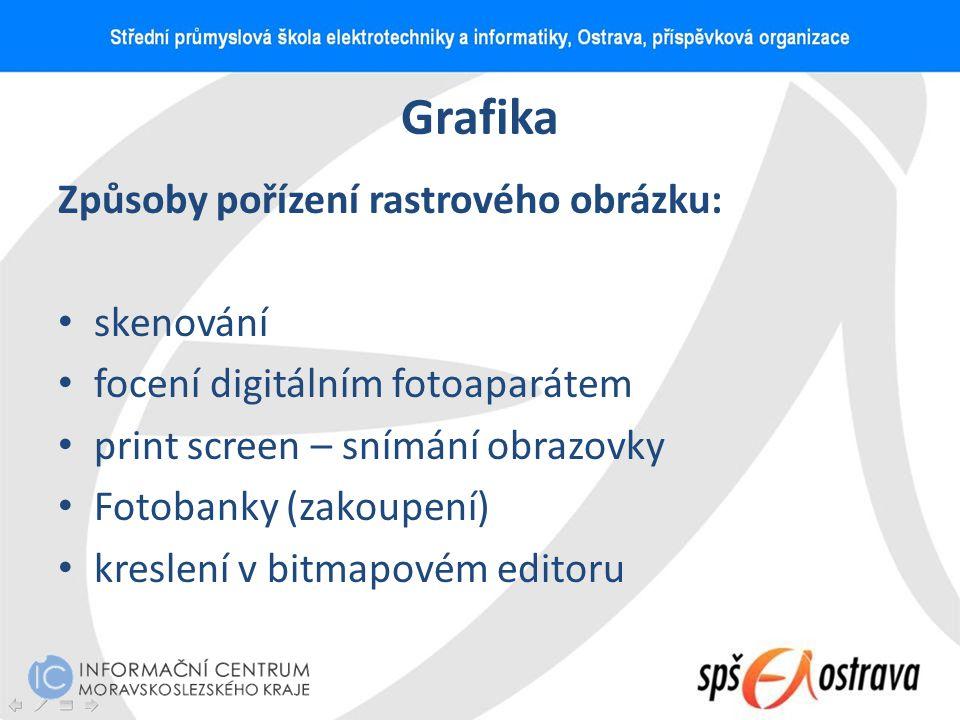 Grafika Způsoby pořízení rastrového obrázku: skenování focení digitálním fotoaparátem print screen – snímání obrazovky Fotobanky (zakoupení) kreslení