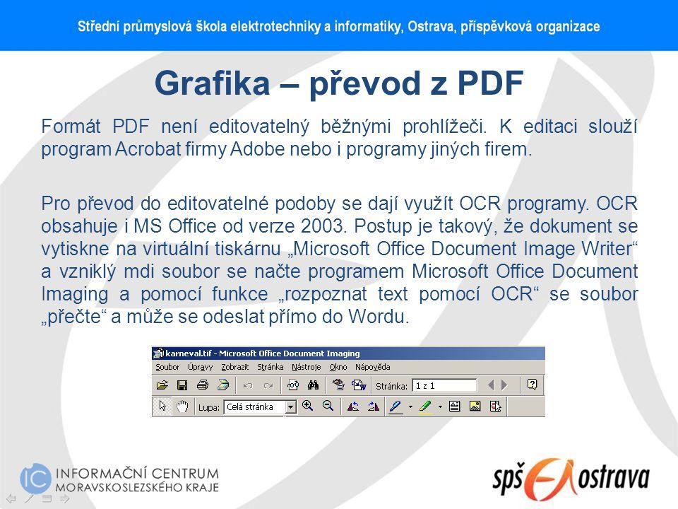 Grafika – převod z PDF Formát PDF není editovatelný běžnými prohlížeči. K editaci slouží program Acrobat firmy Adobe nebo i programy jiných firem. Pro