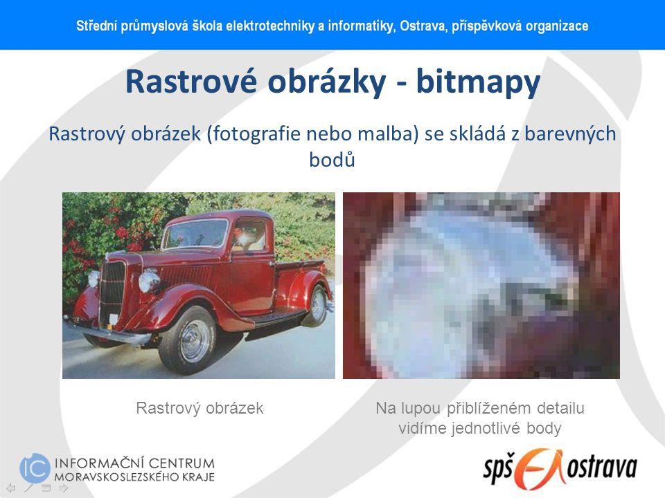 Rastrové obrázky - bitmapy Rastrový obrázek (fotografie nebo malba) se skládá z barevných bodů Rastrový obrázekNa lupou přiblíženém detailu vidíme jed