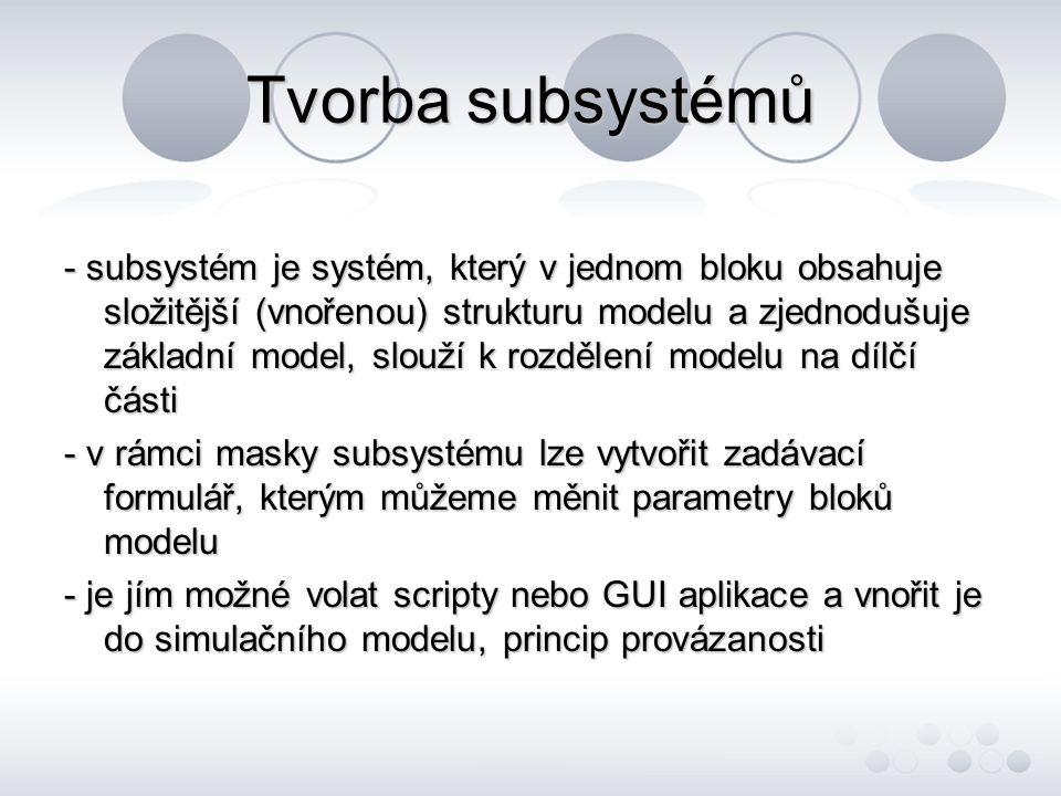 Tvorba subsystémů - subsystém je systém, který v jednom bloku obsahuje složitější (vnořenou) strukturu modelu a zjednodušuje základní model, slouží k