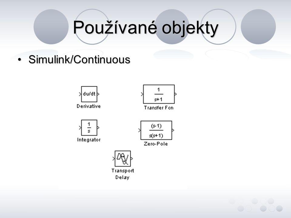 Control systém toolbox - slouží k analýze modelu - na vhodné místo modelu se vloží Input Point a Output Point - dále se v záložce Tool vyvolá nabídka Linear analysis, ve které je možné analyzovat mimo jiné frekvenční charakteristiky modelu