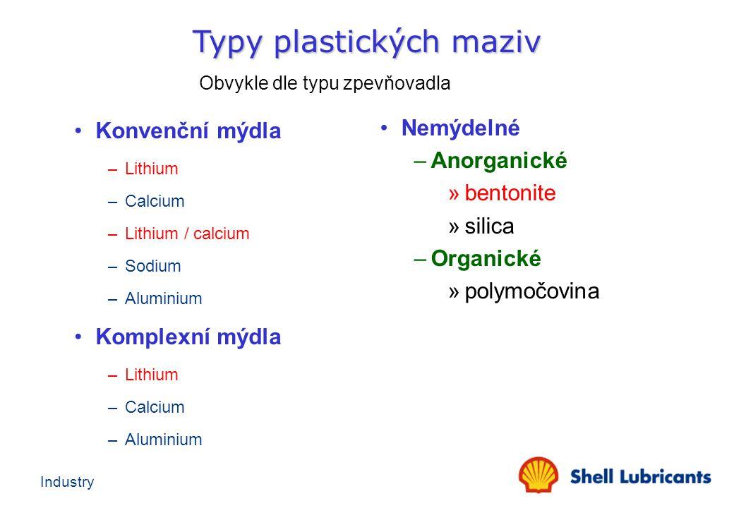 Industry Konvenční mýdla –Lithium –Calcium –Lithium / calcium –Sodium –Aluminium Komplexní mýdla –Lithium –Calcium –Aluminium Nemýdelné –Anorganické »