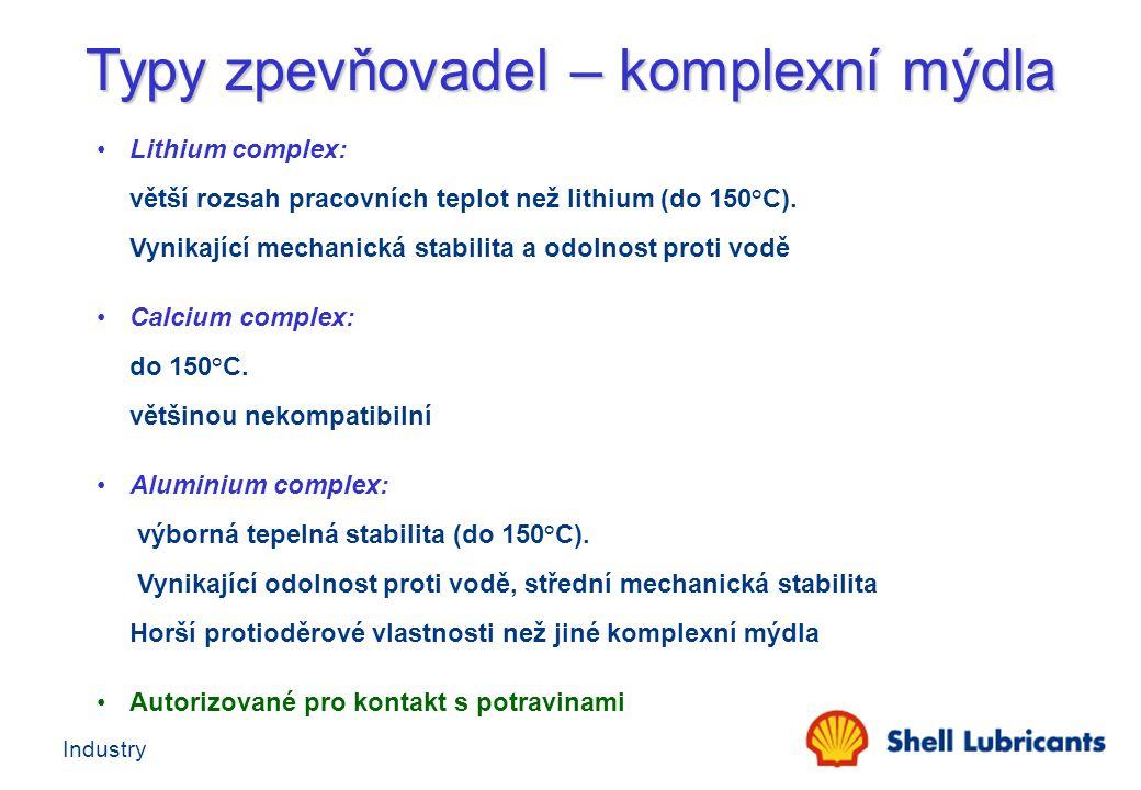 Industry Lithium complex: větší rozsah pracovních teplot než lithium (do 150°C). Vynikající mechanická stabilita a odolnost proti vodě Calcium complex