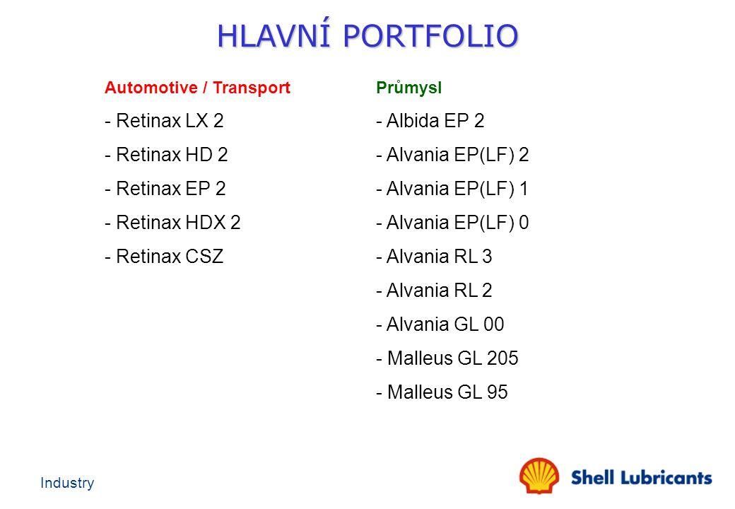 Industry Automotive / TransportPrůmysl - Retinax LX 2- Albida EP 2 - Retinax HD 2 - Alvania EP(LF) 2 - Retinax EP 2 - Alvania EP(LF) 1 - Retinax HDX 2