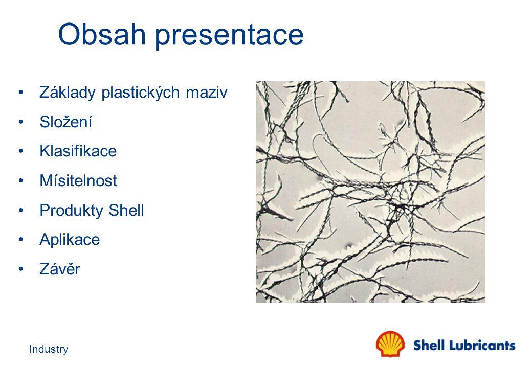 Industry Viskozita základového oleje Vlastnosti plastického maziva jsou velmi ovlivněny viskozitou základového oleje: Nízká viskozita : - má sklon k tečení při vyšších tlacích - doporučeno pro vysokootáčkové ložiska - snadněji čerpatelné v centrálních systémech na delší vzdálenosti - lepší nízkoteplotní chování Vysoká viskozita : - pro vysoké zatížení - dobrá přilnavost a odolnost proti vymývání - Lepší výkonost při vyšších teplotách - doporučeno pro nízko otáčkové aplikace Vysoký viskozitní index: - široké rozmezí teplot