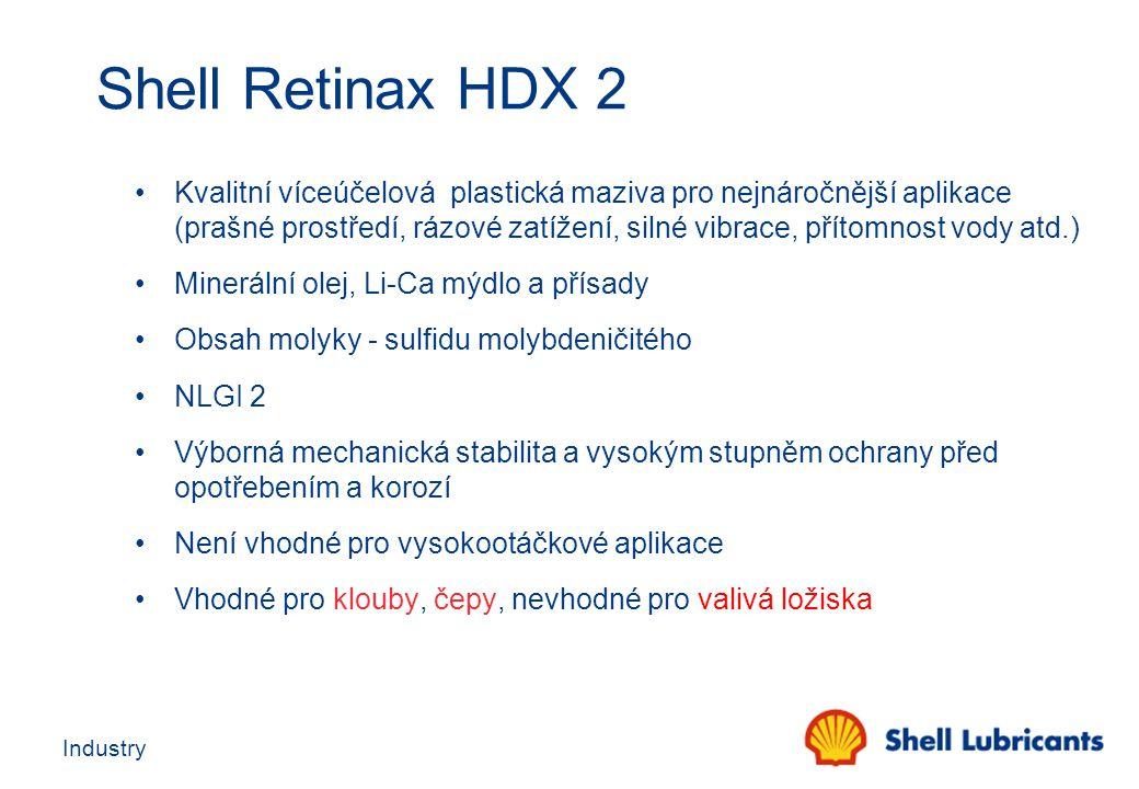 Industry Shell Retinax HDX 2 Kvalitní víceúčelová plastická maziva pro nejnáročnější aplikace (prašné prostředí, rázové zatížení, silné vibrace, příto
