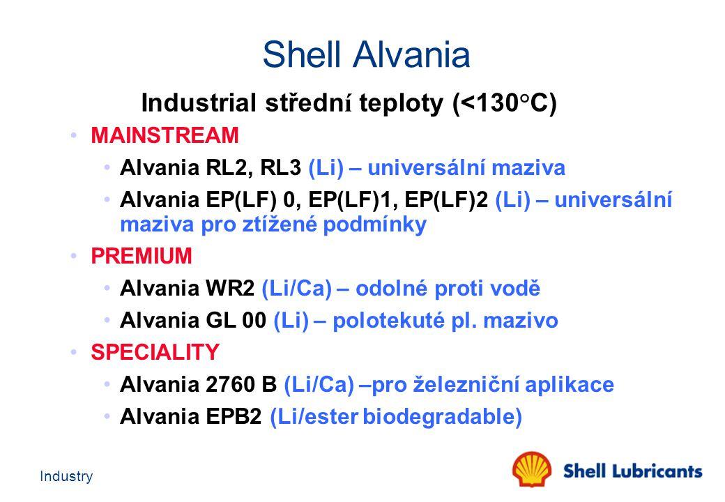 Industry Industrial středn í teploty (<130°C) MAINSTREAM Alvania RL2, RL3 (Li) – universální maziva Alvania EP(LF) 0, EP(LF)1, EP(LF)2 (Li) – universá