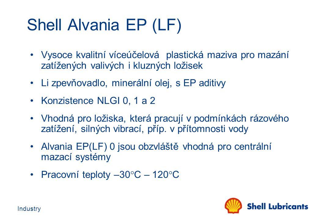 Industry Shell Alvania EP (LF) Vysoce kvalitní víceúčelová plastická maziva pro mazání zatížených valivých i kluzných ložisek Li zpevňovadlo, mineráln