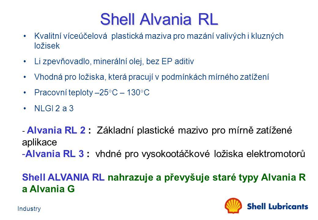 Industry - Alvania RL 2 : Základní plastické mazivo pro mírně zatížené aplikace -Alvania RL 3 : vhdné pro vysokootáčkové ložiska elektromotorů Shell A